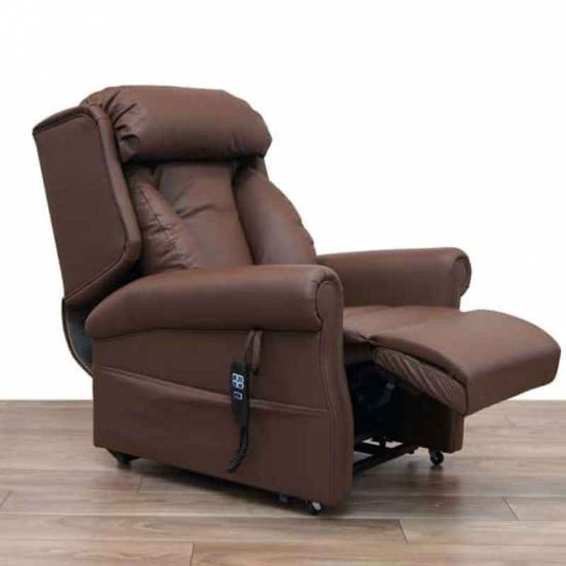 Rise & Recline Leather Lateral Back Wall Hugger Chair